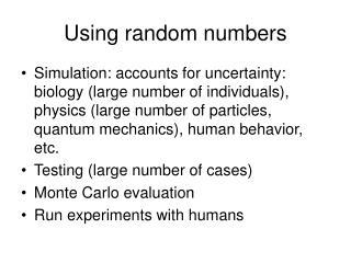 Using random numbers