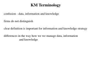 KM Terminology
