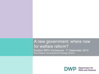 A new government: where now for welfare reform?