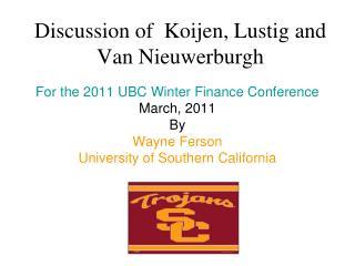 Discussion of Koijen, Lustig and Van Nieuwerburgh