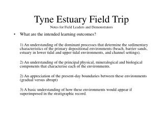 Tyne Estuary Field Trip Notes for Field Leaders and Demonstrators