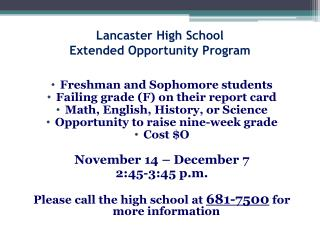 Lancaster High School Extended Opportunity Program