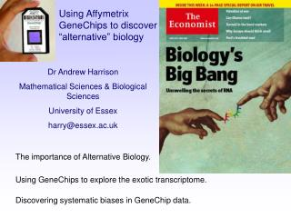 Dr Andrew Harrison Mathematical Sciences  Biological Sciences University of Essex harryessex.ac.uk
