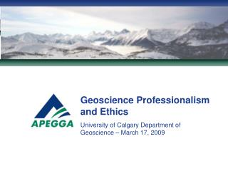 Geoscience Professionalism and Ethics