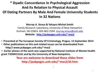 * Dyadic Concordance In Psychological Aggression  And Its Relation to Physical Assault
