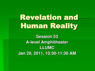 Revelation and Human Reality