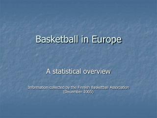 Basketball in Europe