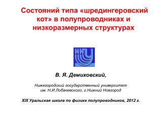 В. Я. Демиховский, Нижегородский государственный университет