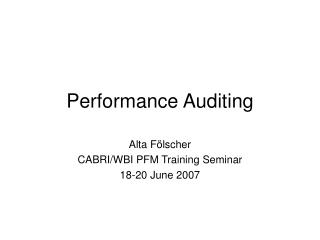 Performance Auditing