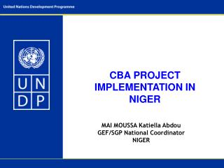 CBA PROJECT IMPLEMENTATION IN NIGER