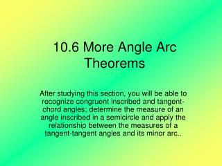 10.6 More Angle Arc Theorems