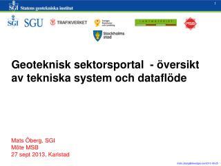 Geoteknisk sektorsportal - översikt av tekniska system och dataflöde