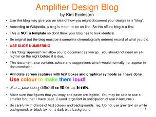 Amplifier Design Blog by Kim Eccleston
