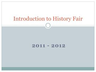 Introduction to History Fair