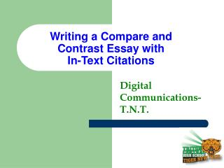 Writing a Compare and Contrast Essay with  In-Text Citations