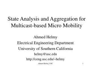 State Analysis and Aggregation for Multicast-based Micro Mobility