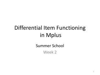 Differential Item Functioning  in Mplus