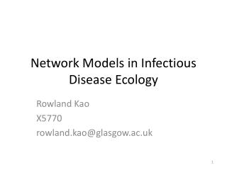 Network Models in Infectious Disease Ecology
