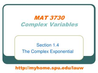 MAT 3730 Complex Variables