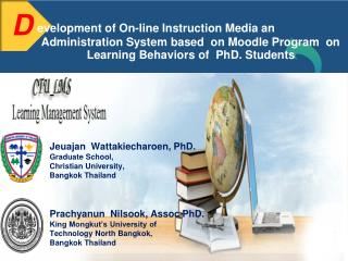 Jeuajan Wattakiecharoen, PhD. Graduate School, Christian University, Bangkok Thailand