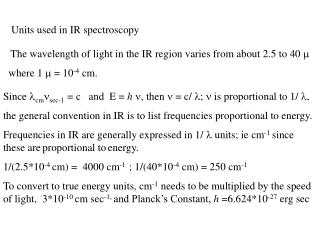 Units used in IR spectroscopy