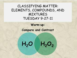 CLASSIFYING MATTER: ELEMENTS, COMPOUNDS, AND MIXTURES TUESDAY 9-27-11