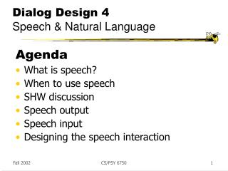 Dialog Design 4 Speech & Natural Language