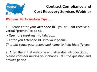Contract Compliance and  Cost Recovery Services Webinar