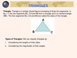 Types of Triangles: We can classify triangles by Considering the lengths of their sides