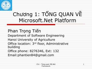 Chương 1: TỔNG QUAN VỀ Microsoft.Net Platform