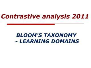 BLOOM'S TAXONOMY  - LEARNING DOMAINS