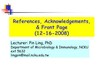 References, Acknowledgements,  & Front Page (12-16-2008)