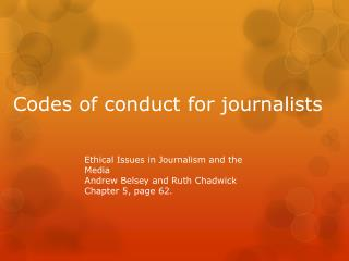 Codes of conduct for journalists