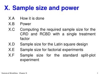 X.	Sample size and power