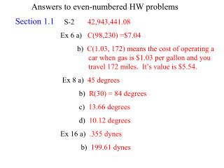 Answers to even-numbered HW problems