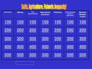 Soils, Agriculture, Fisheris Jeopardy!