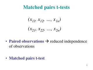 Matched pairs t-tests