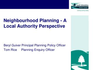 Neighbourhood Planning - A Local Authority Perspective