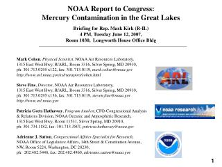 NOAA Report to Congress:  Mercury Contamination in the Great Lakes