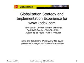 Globalization Strategy and Implementation Experience for kodak