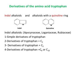 Derivatives of the amino acid tryptophan