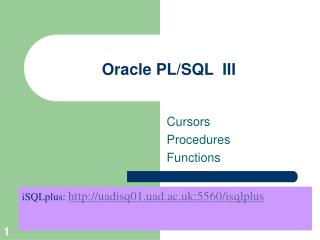 Oracle PL/SQL  III