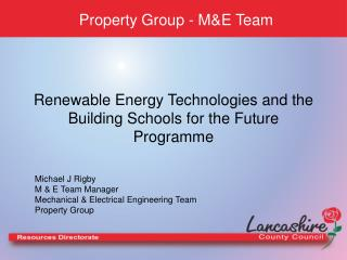 Renewable Energy Technologies and the Building Schools for the Future Programme