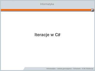 Iteracje w C#