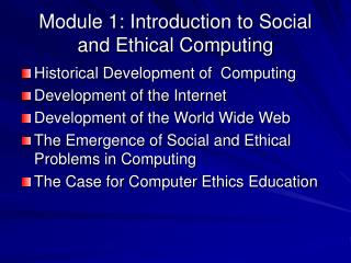 Module 1: Introduction to Social and Ethical Computing