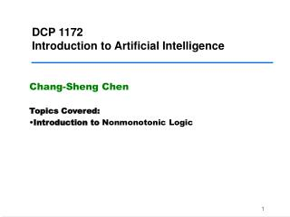 DCP 1172 Introduction to Artificial Intelligence