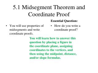 5.1 Midsegment Theorem and Coordinate Proof