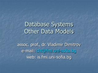 Database Systems Other Data Models