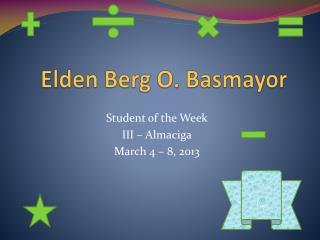 Elden Berg O. Basmayor