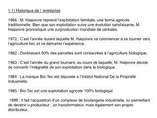 1.1) Historique de l'entreprise